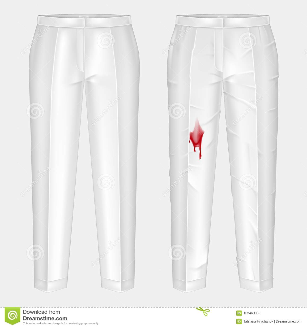 Pare of dirty, rubbed with blood blotch and ironed, shiny clean white  womens pants realistic vector. Clothing before after washing, stain removal  concept ...