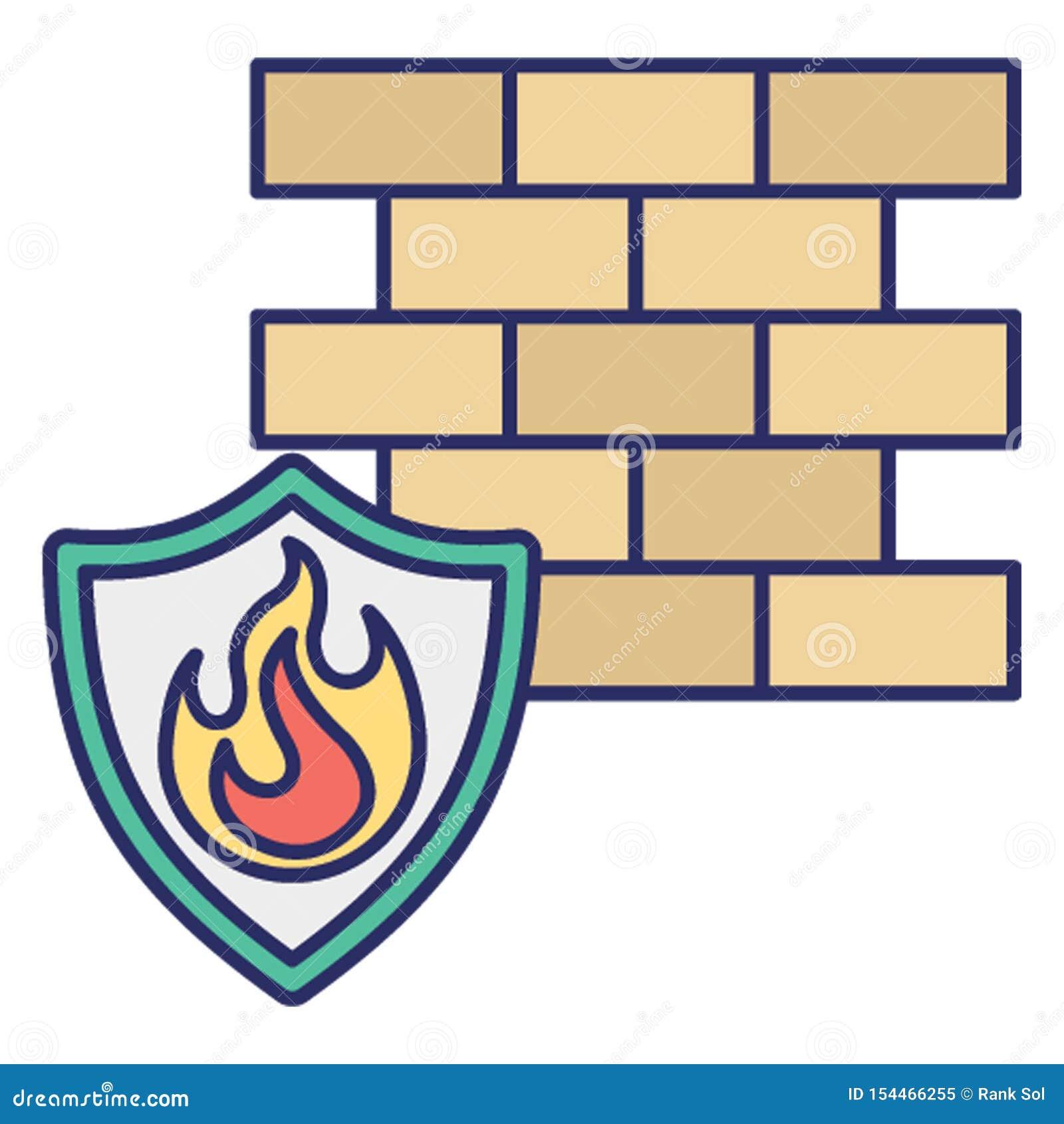Pare-feu d antivirus, icône de vecteur de brûlure de données qui peut facilement modifier ou éditer
