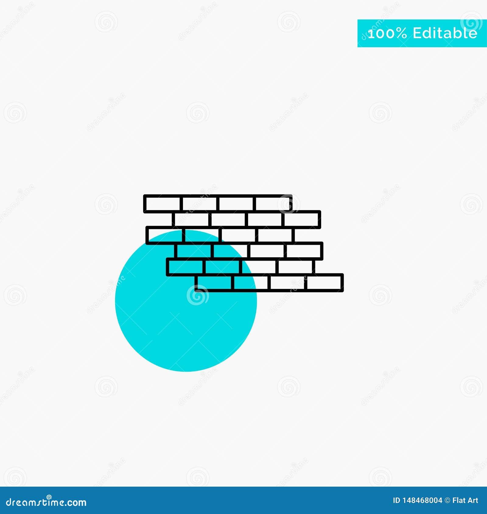Pare-feu, sécurité, mur, brique, icône de vecteur de point de cercle de point culminant de turquoise de briques