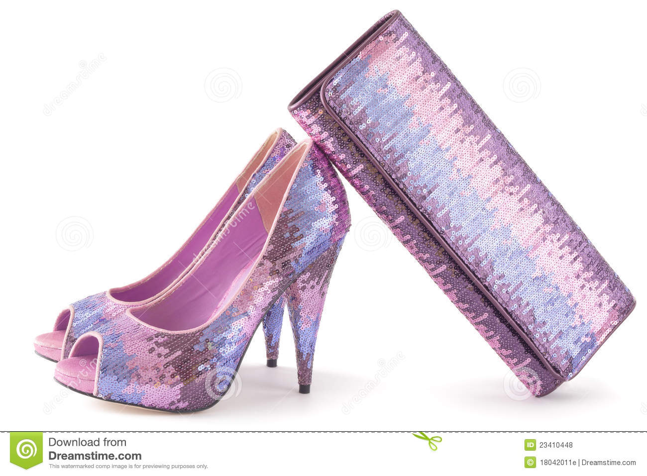 Pare Of Pink Shiny Shoes And Matching Bag Royalty Free Stock Photos ...
