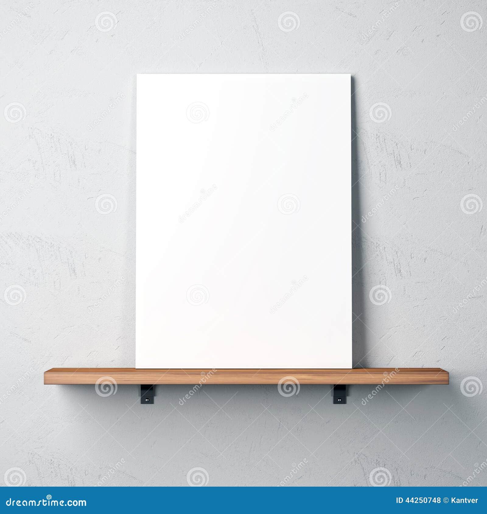 Pared con el estante y el cartel en blanco