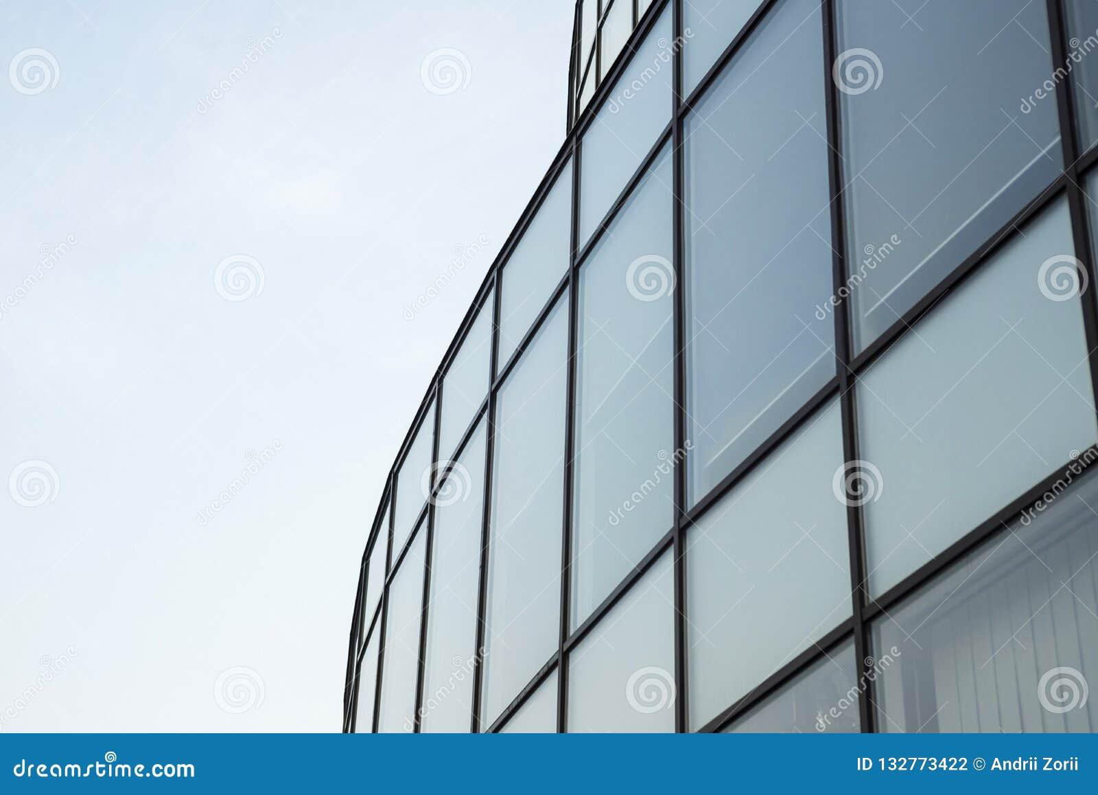 Pared de cristal del edificio moderno Fondo abstracto urbano, detalle de la fachada de cristal moderna, edificio del negocio de l