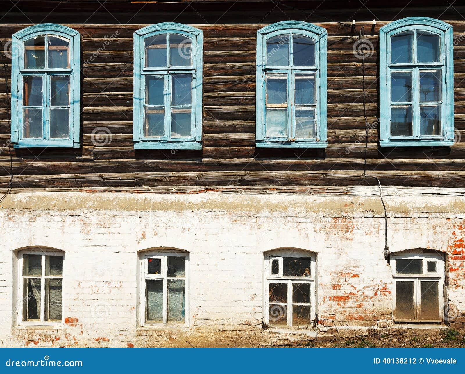Pared de la casa de madera urbana rusa vieja foto de for La casa de madera