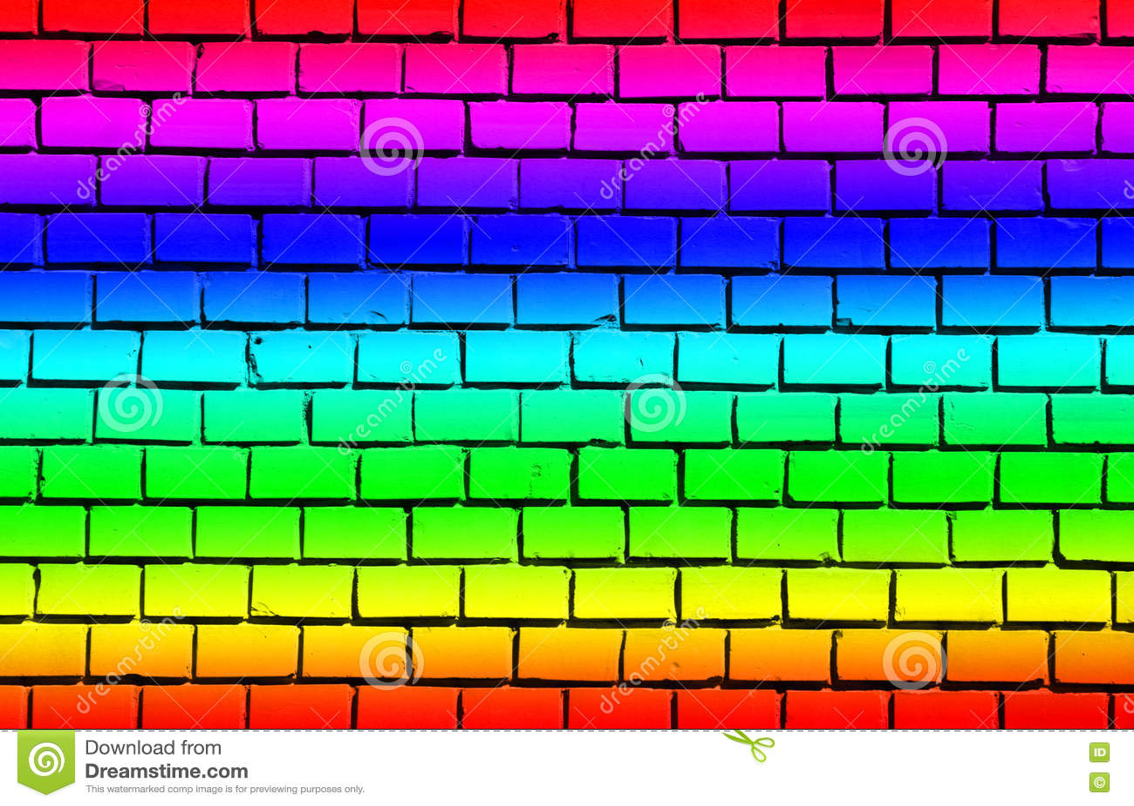Pared de ladrillo con colores del arco iris imagen de - Ladrillos de colores ...