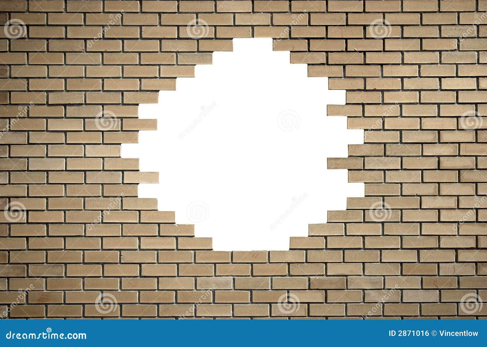 Pared de ladrillo con el agujero imagen de archivo libre - Agujero en la pared ...