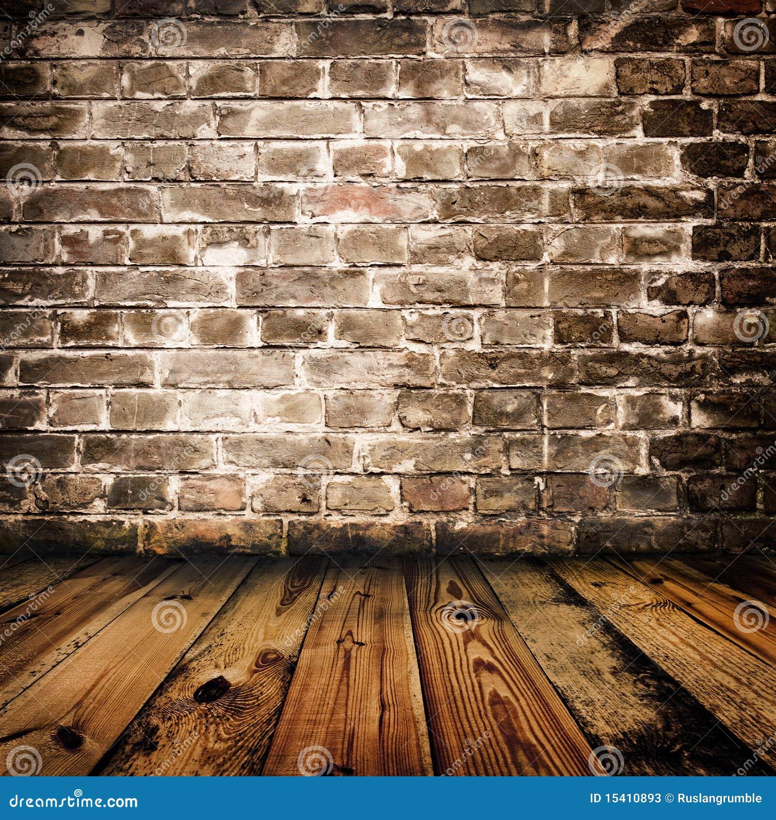 Pared de ladrillo de grunge y suelo de madera fotos de - Pared de ladrillo ...