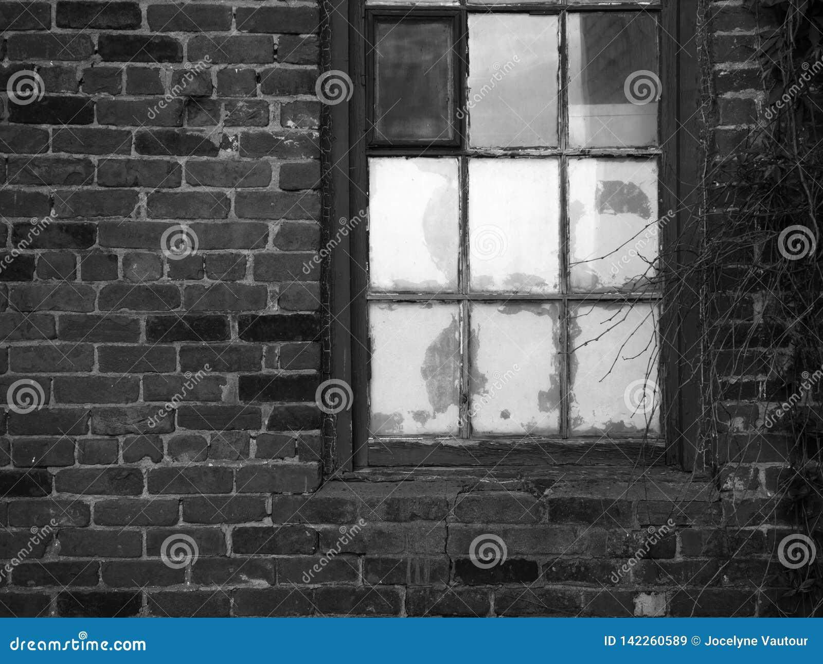 Pared de ladrillo y ventana vieja Rebecca 36