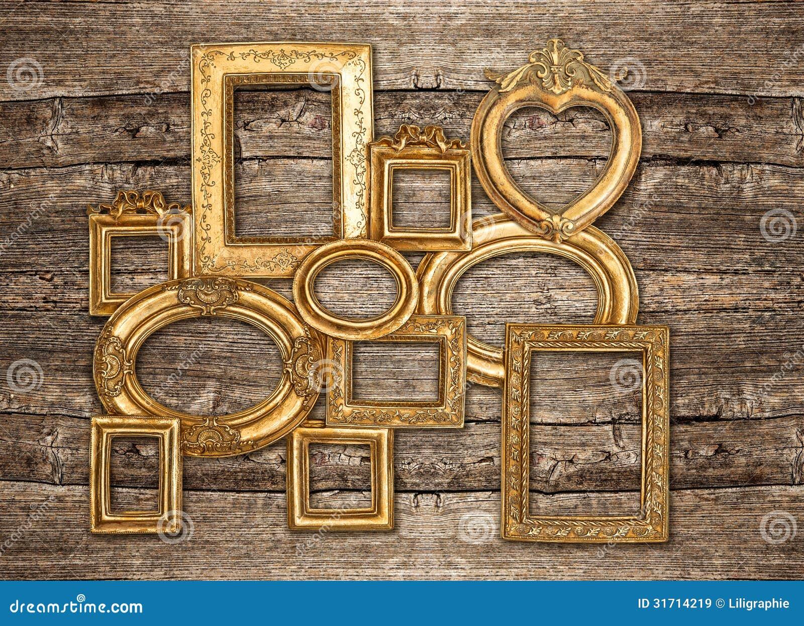 Pared de madera r stica del marco de oro antiguo imagen de - Marcos fotos pared ...