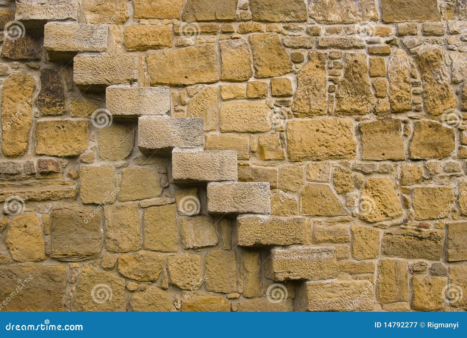 Pared de piedra con las escaleras imagen de archivo - Pared de piedra ...