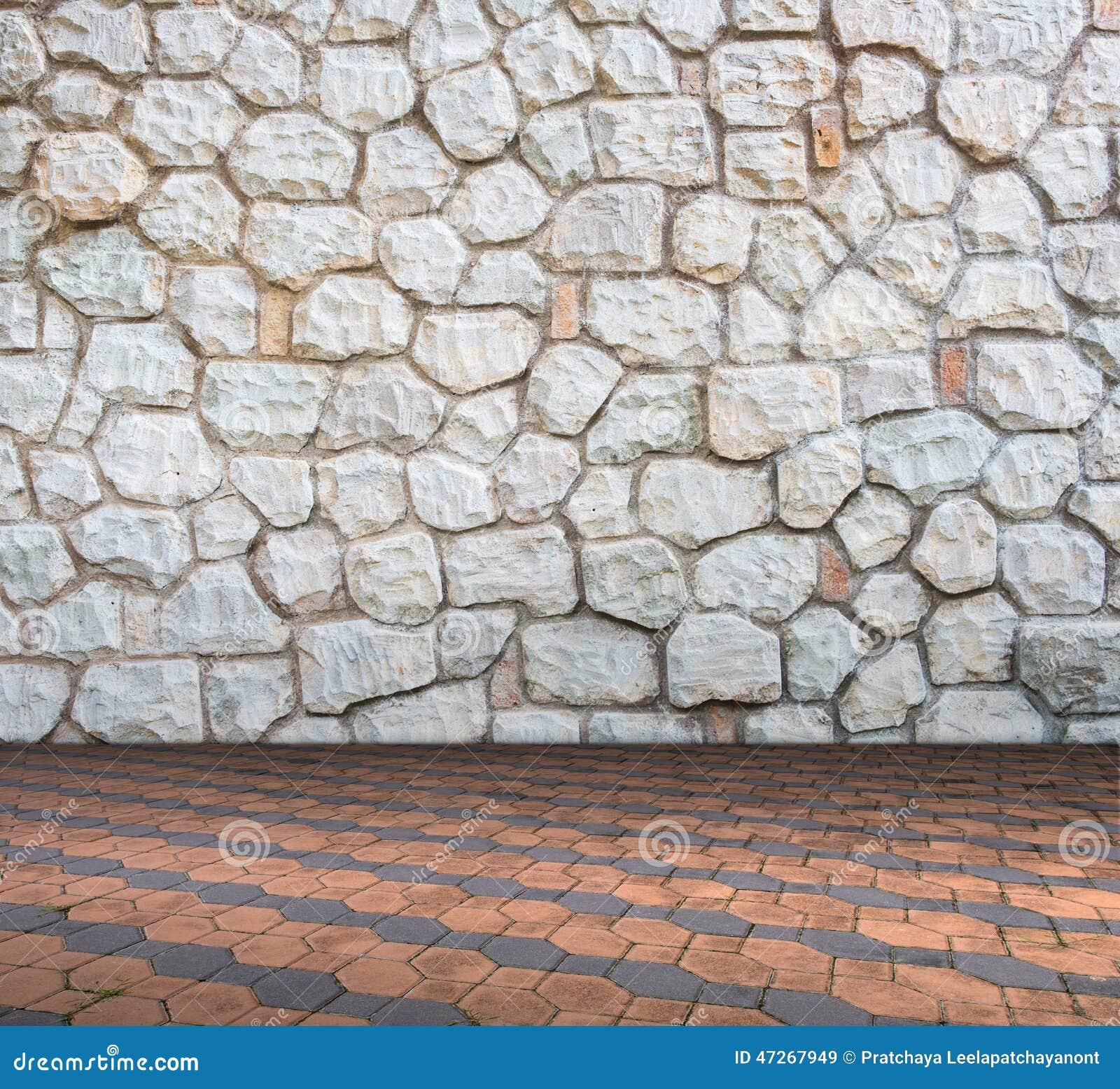Pared de piedra en estilo moderno interior del piso del - Paredes de cemento ...