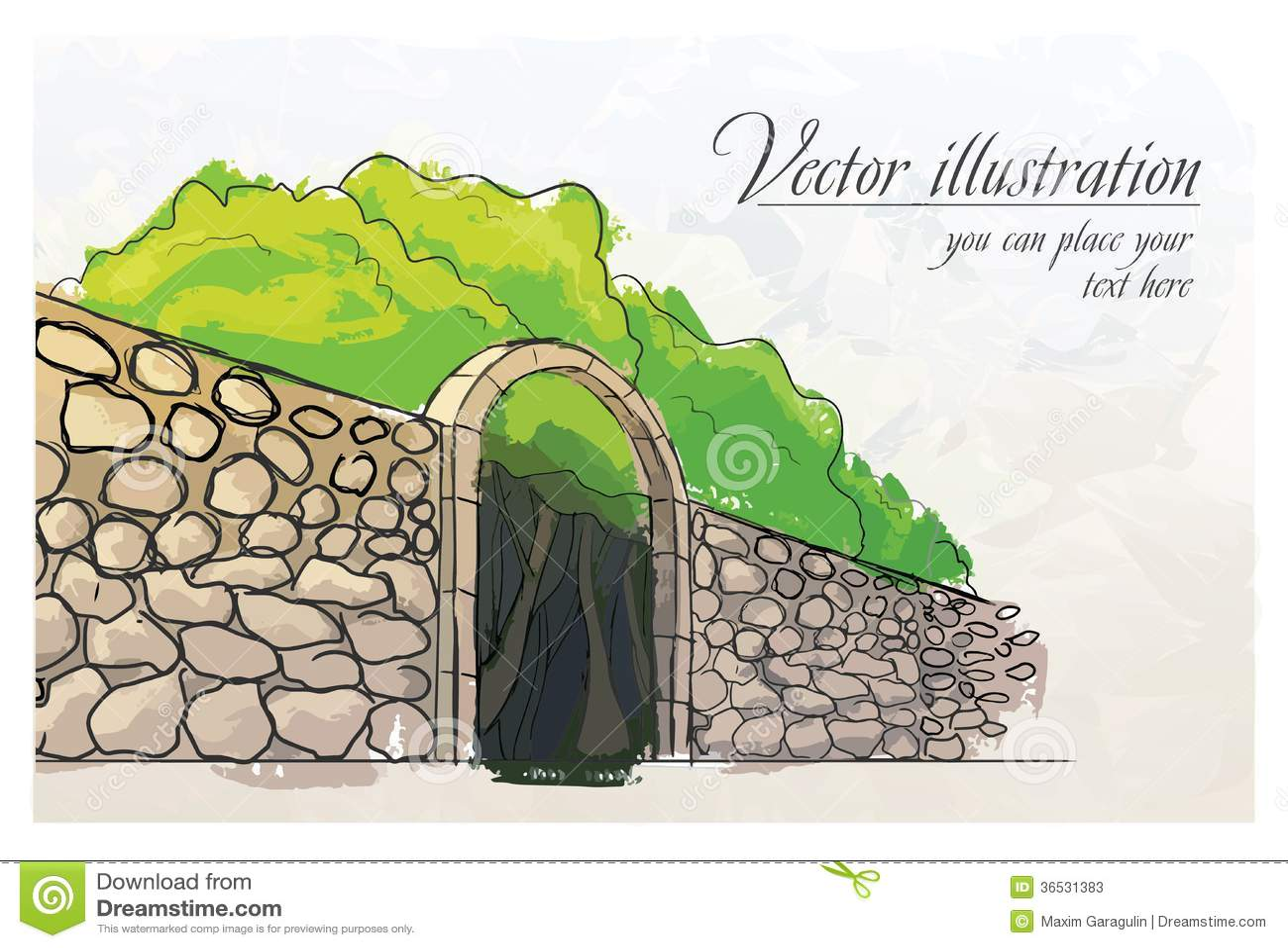 Pared de piedra en un jard n imitaci n de la acuarela for Paredes de piedra para jardines