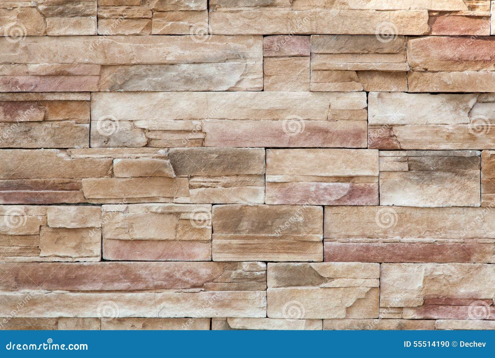 Pared de piedra hecha con los bloques