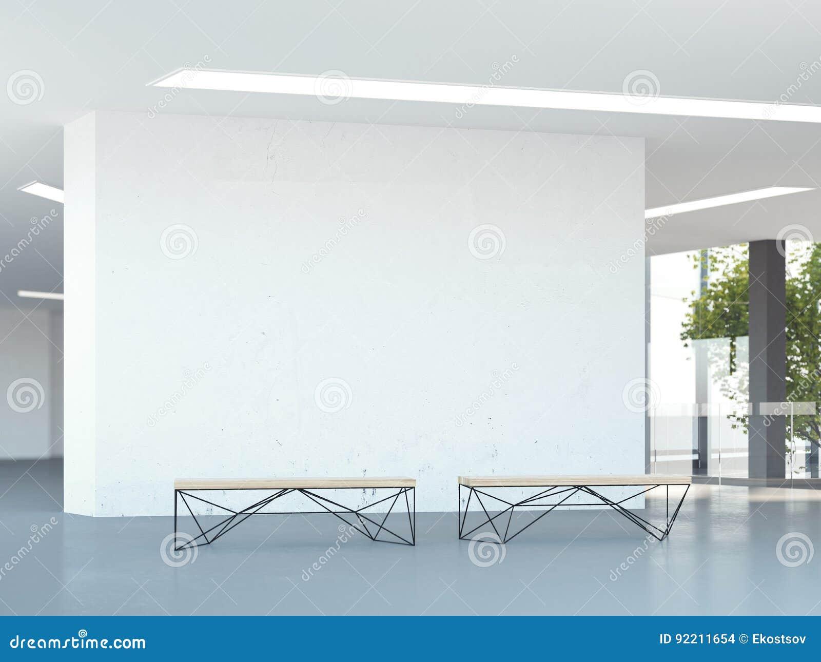 Pared en blanco en el pasillo moderno de la oficina representación 3d