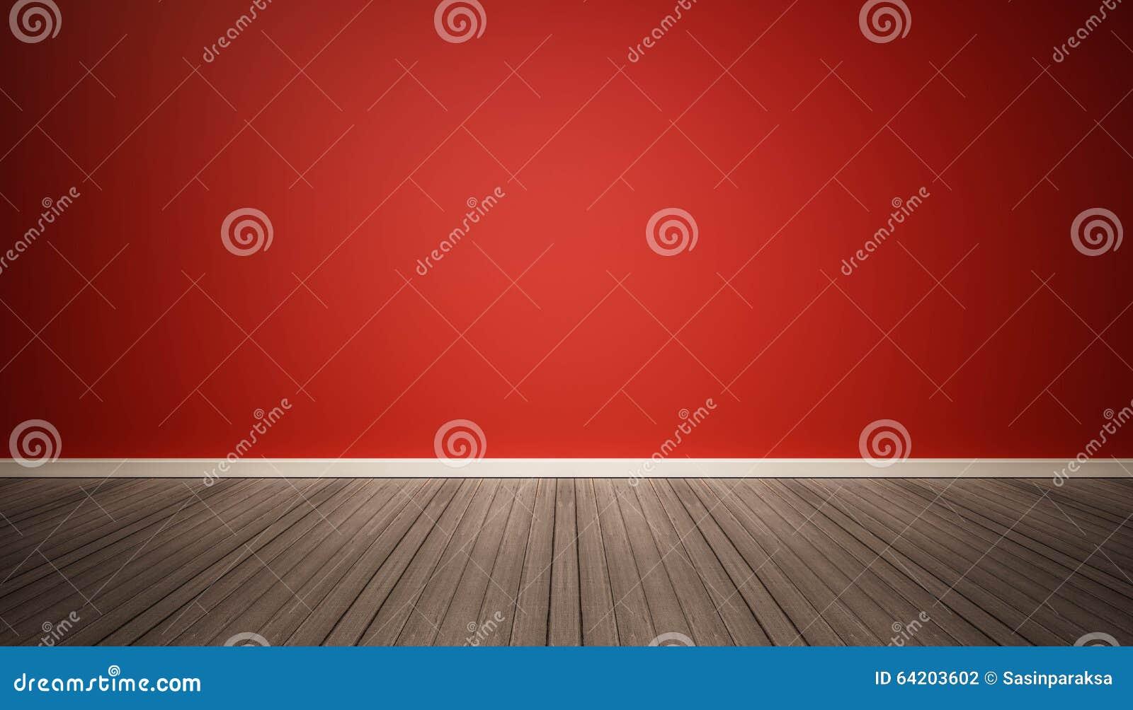 Pared roja y piso de madera oscuro
