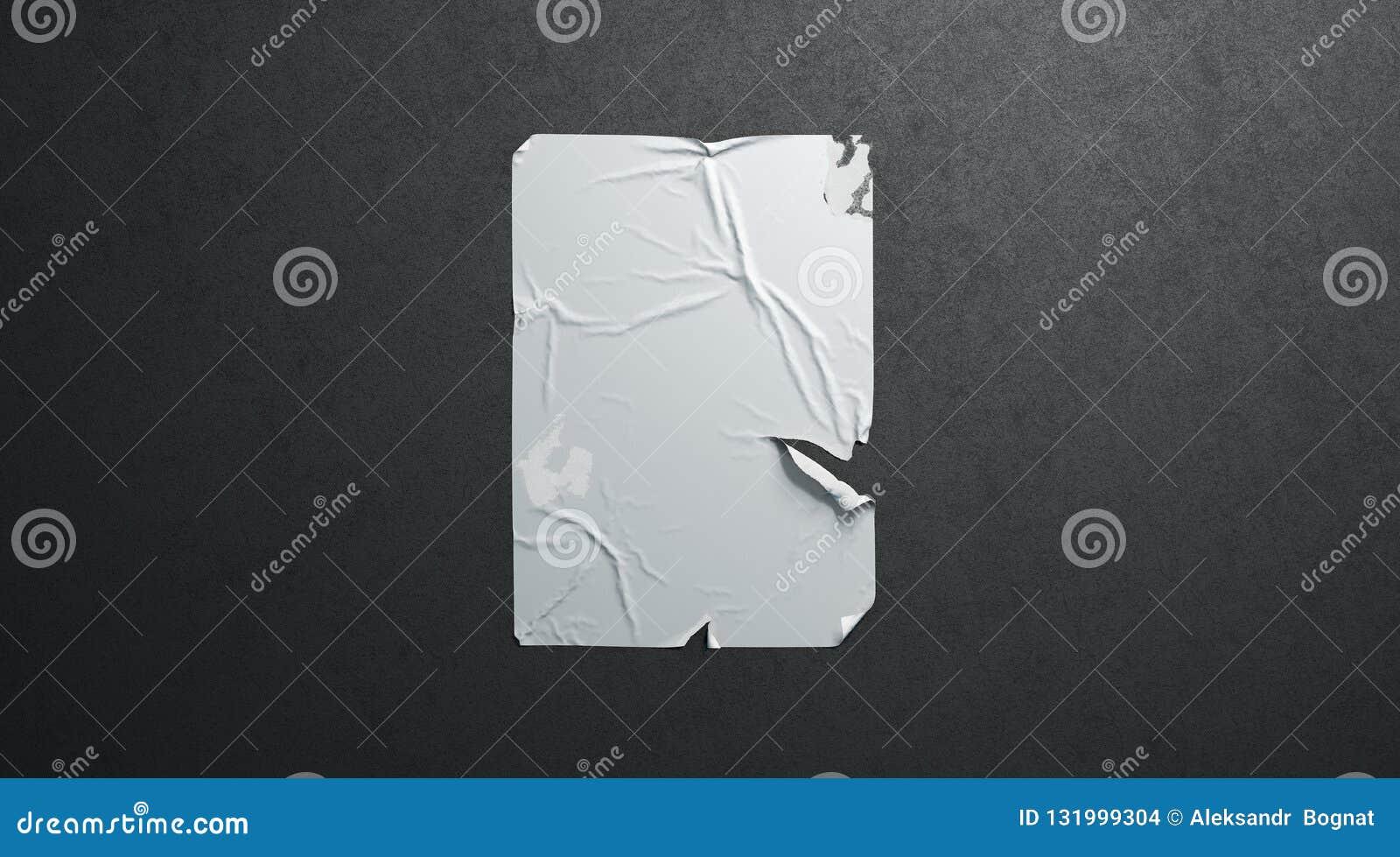 Pared texturizada negro rasgada adhesiva de la maqueta del cartel del wheatpaste blanco en blanco