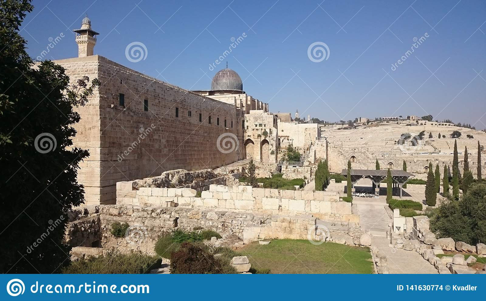 Pared vieja de la fortaleza de la ciudad de Jerusalén en Israel