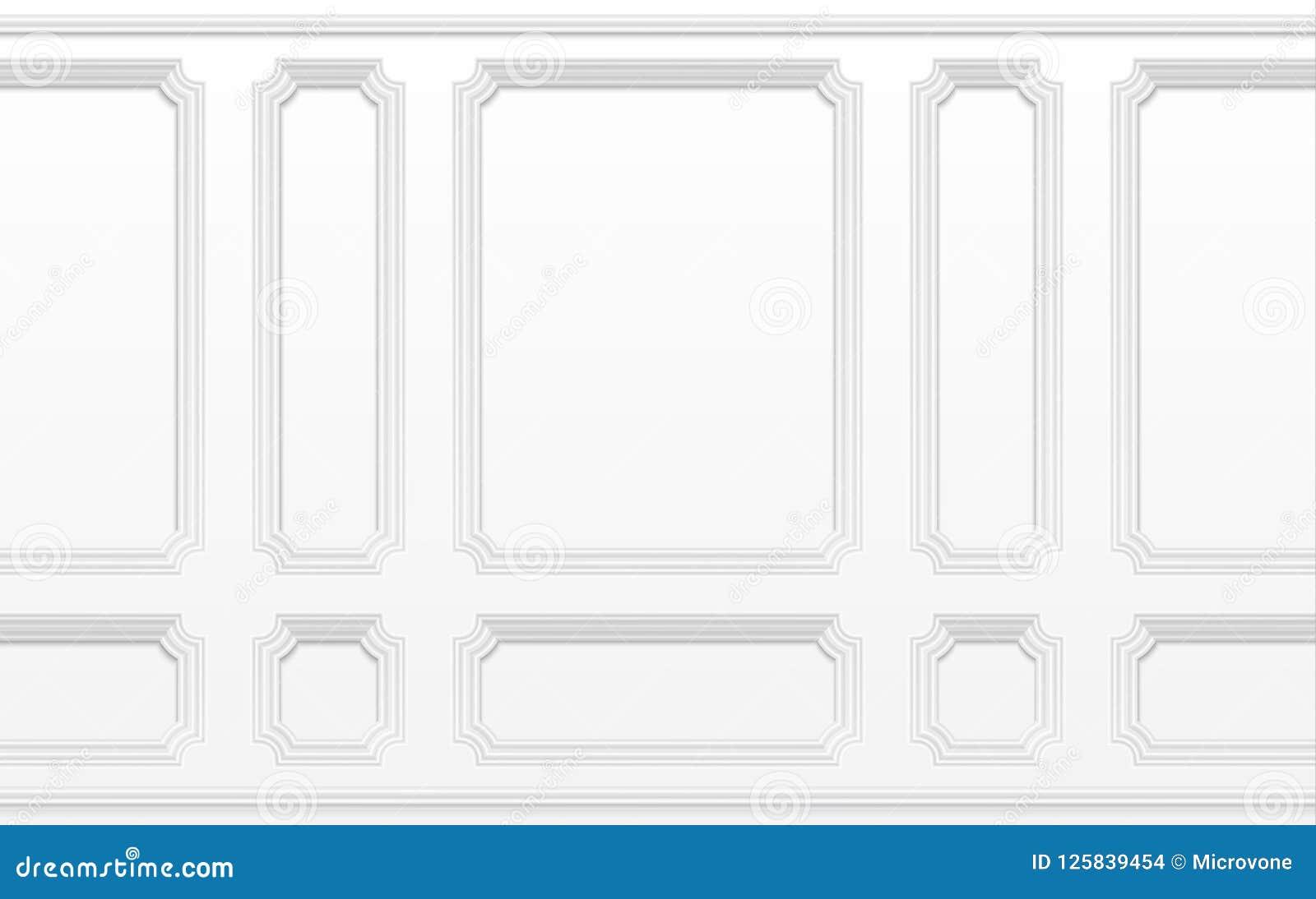 Parede branca com quadros moldando Interior clássico com painéis moldando Fundo sem emenda do vetor