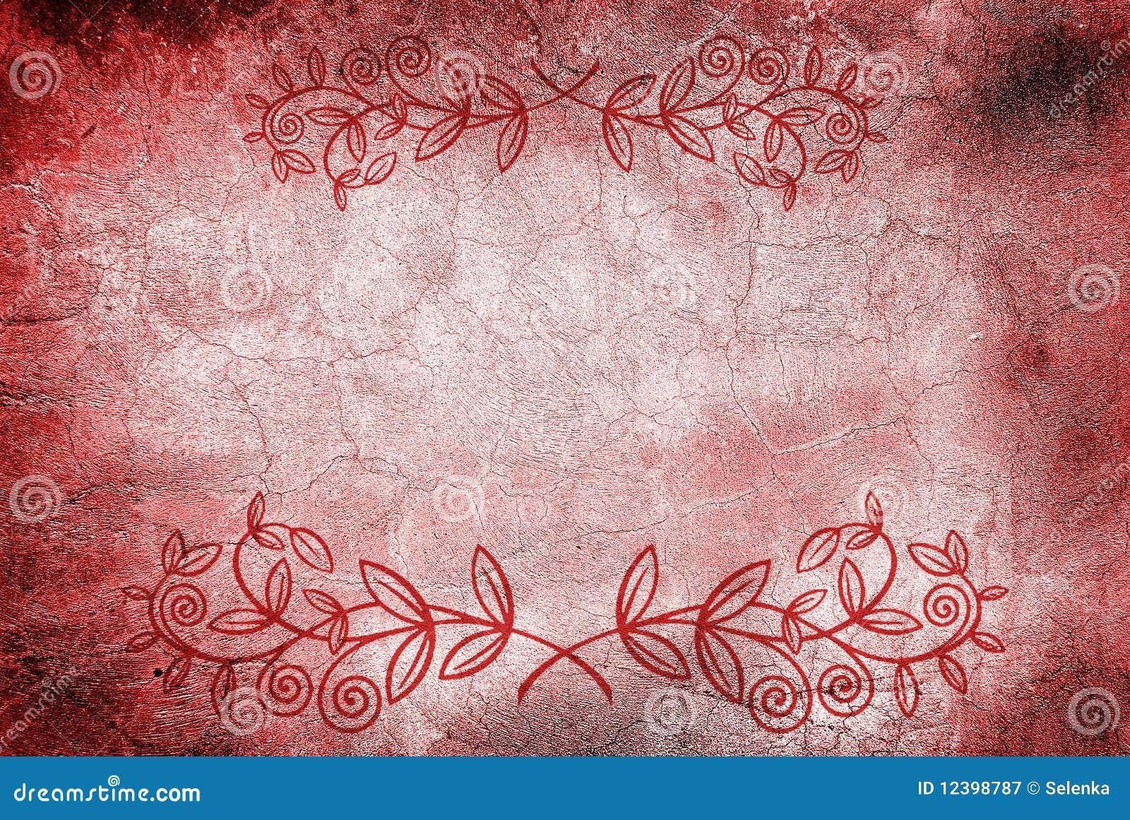Parede com rachaduras e projeto floral