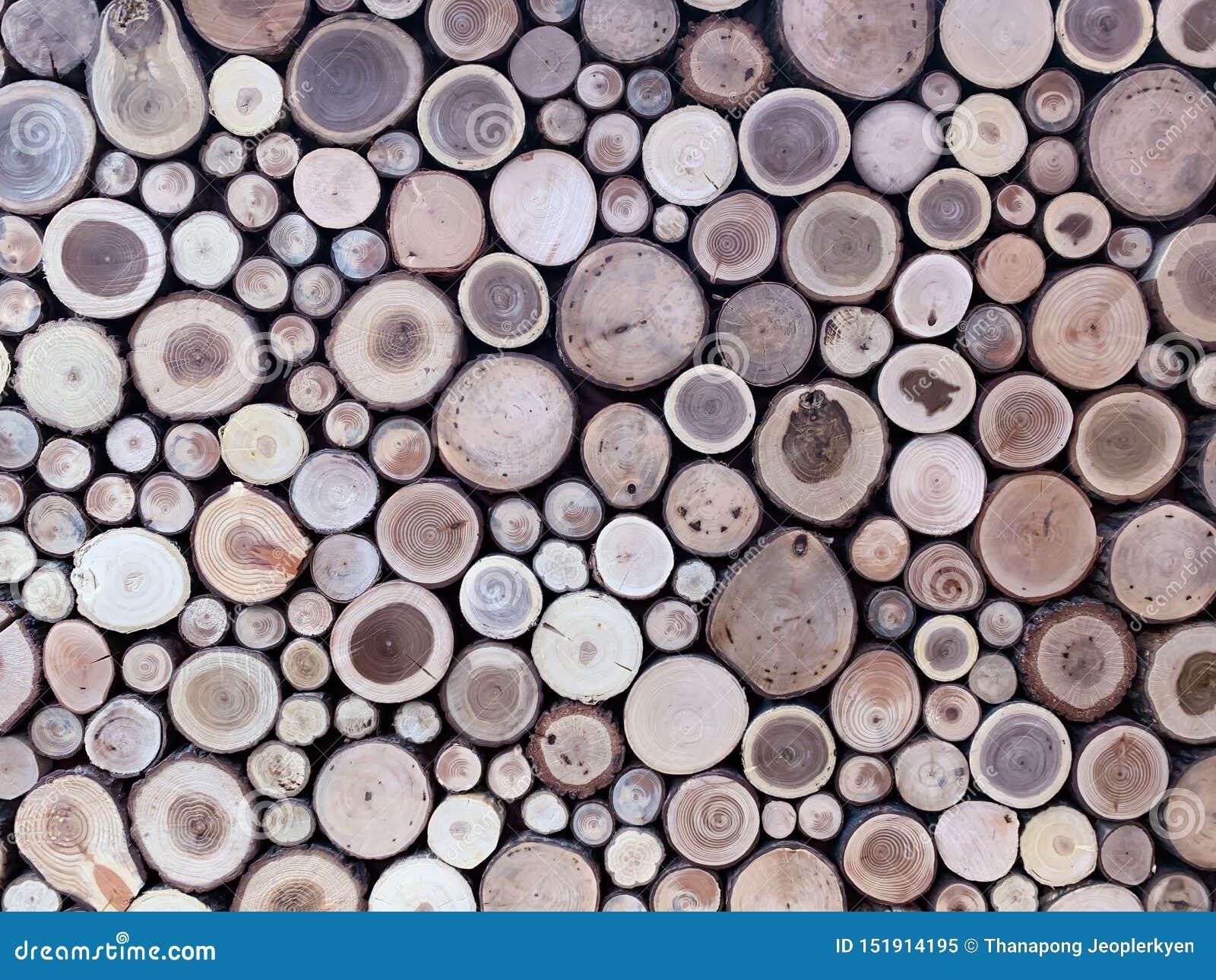 Parede de logs de madeira empilhados como o fundo