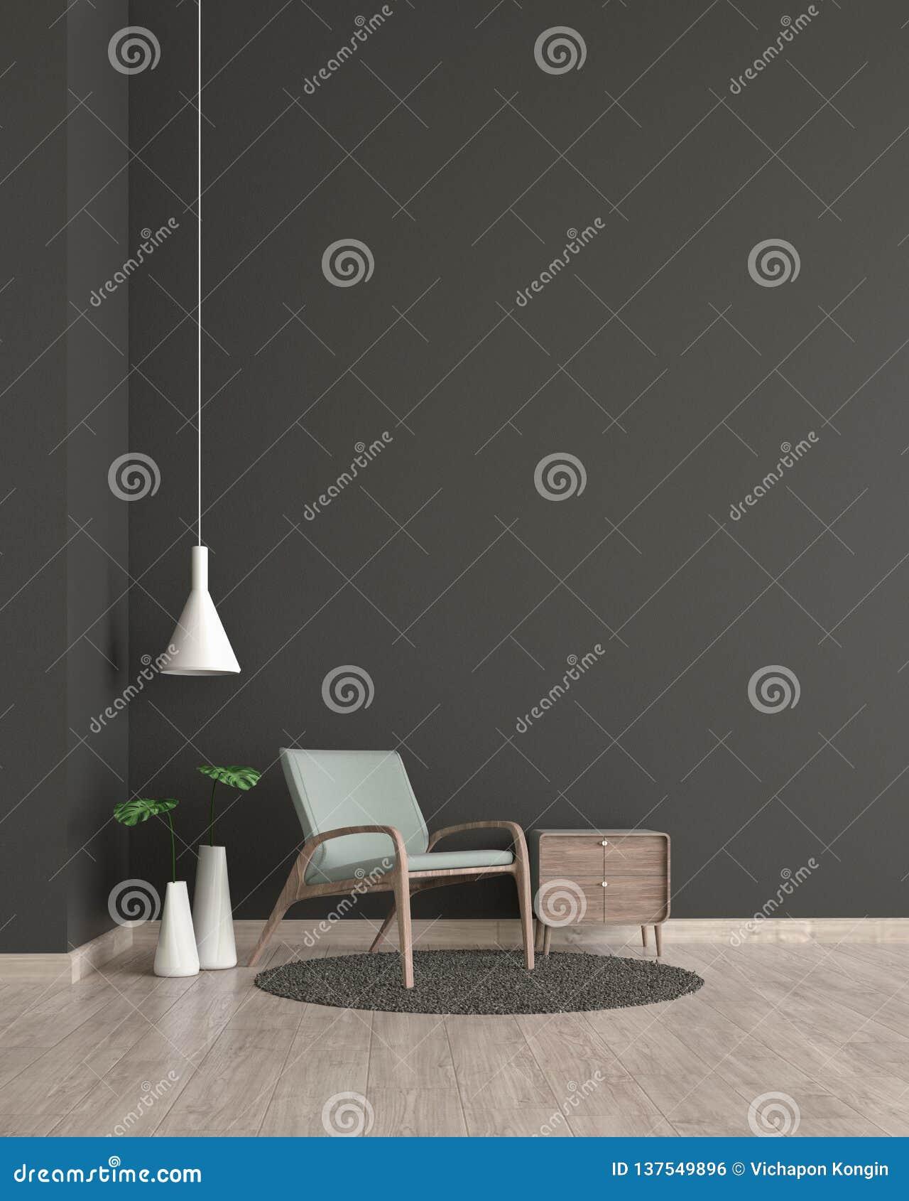 Parede de madeira do preto do assoalho da sala de visitas interior moderna com molde verde da cadeira para a zombaria acima da re