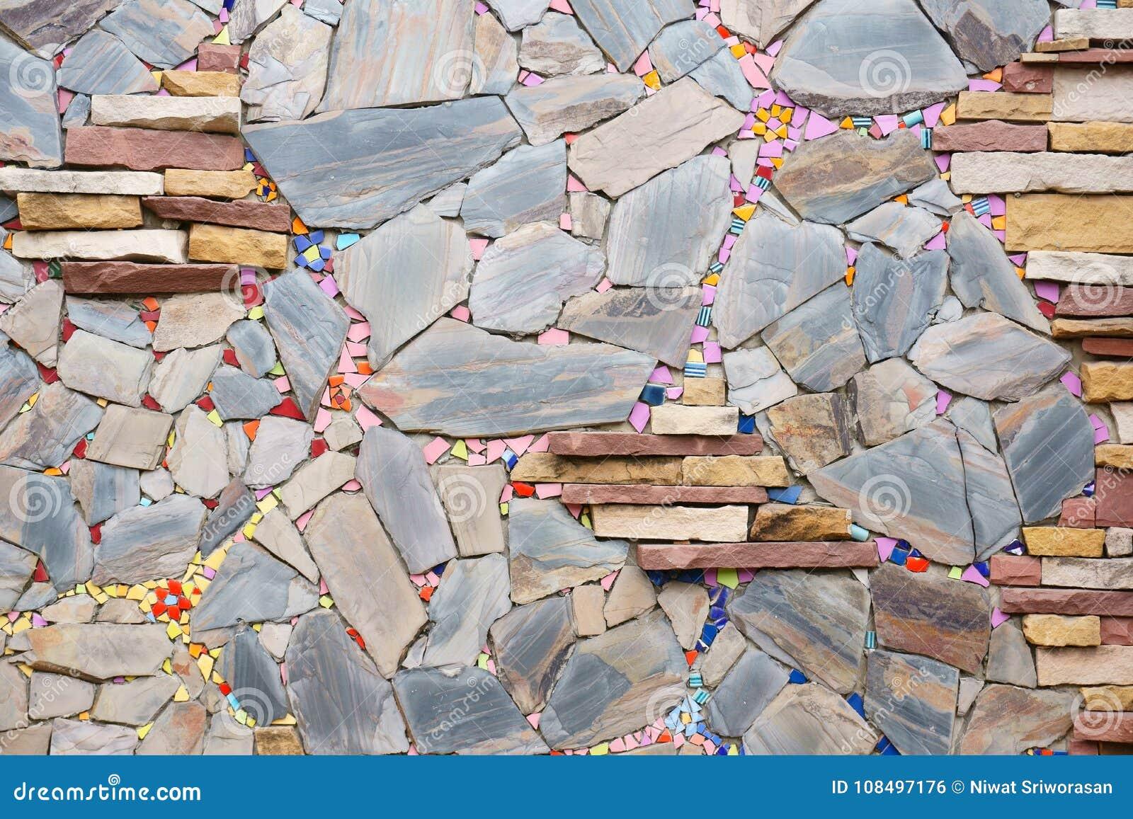 Parede de pedras colorido bonita