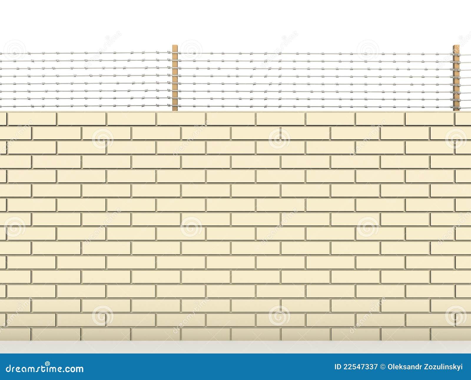 Parede de tijolo branca coberta com arame farpado â2
