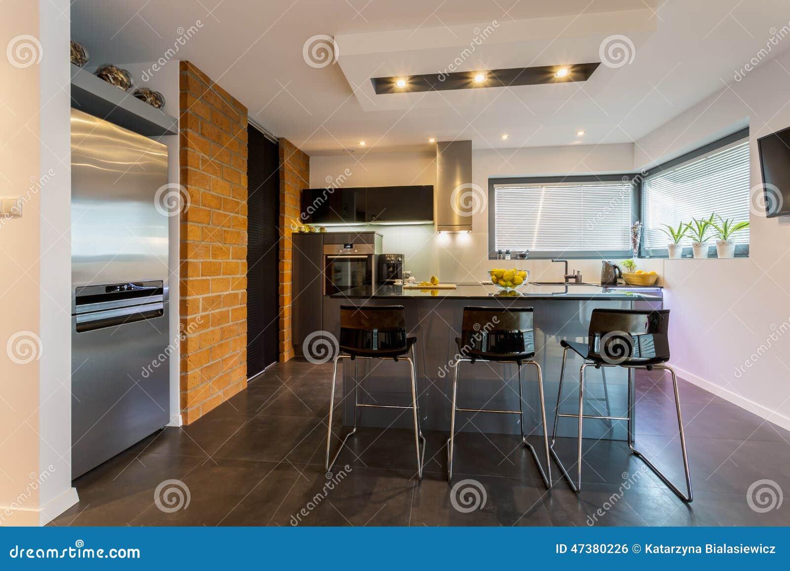 Parede De Tijolo Na Cozinha Contemporânea Foto de Stock Imagem  #A46A27 1300 957