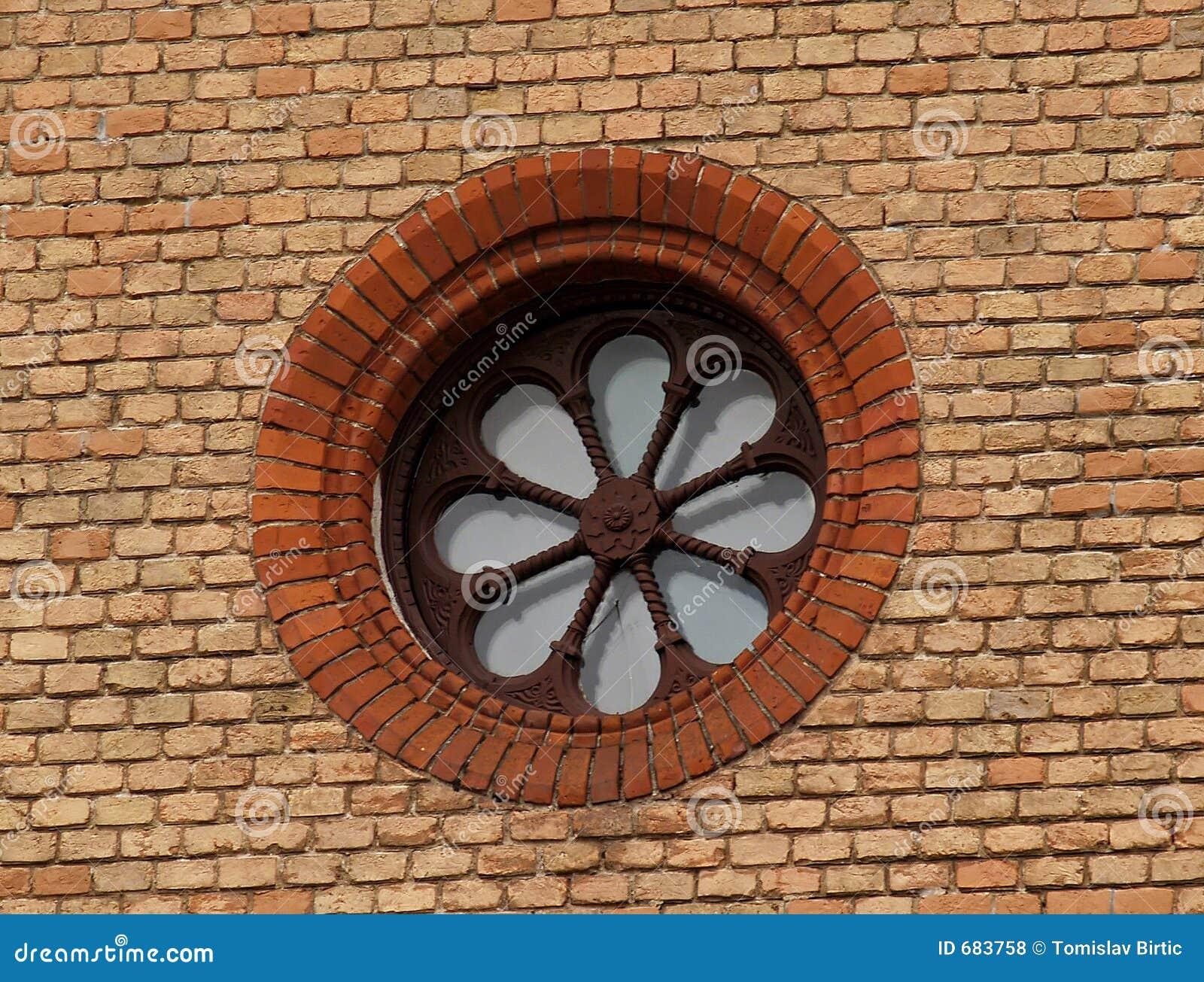 Parede de tijolo velha com indicador