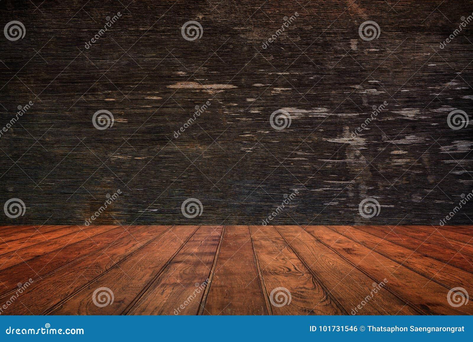 Parede e assoalho de madeira na opinião de perspectiva, fundo do grunge FO
