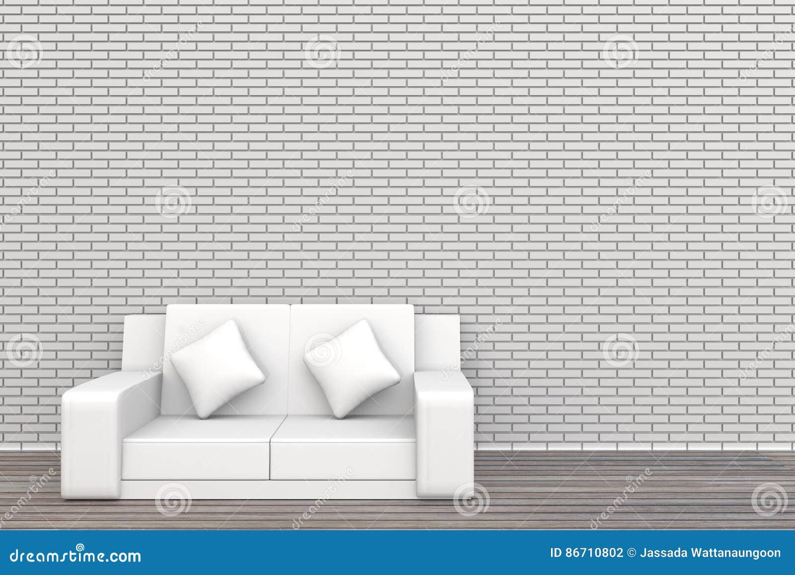A parede e a madeira brancas de tijolo do sofá 3d pavimentam o fundo