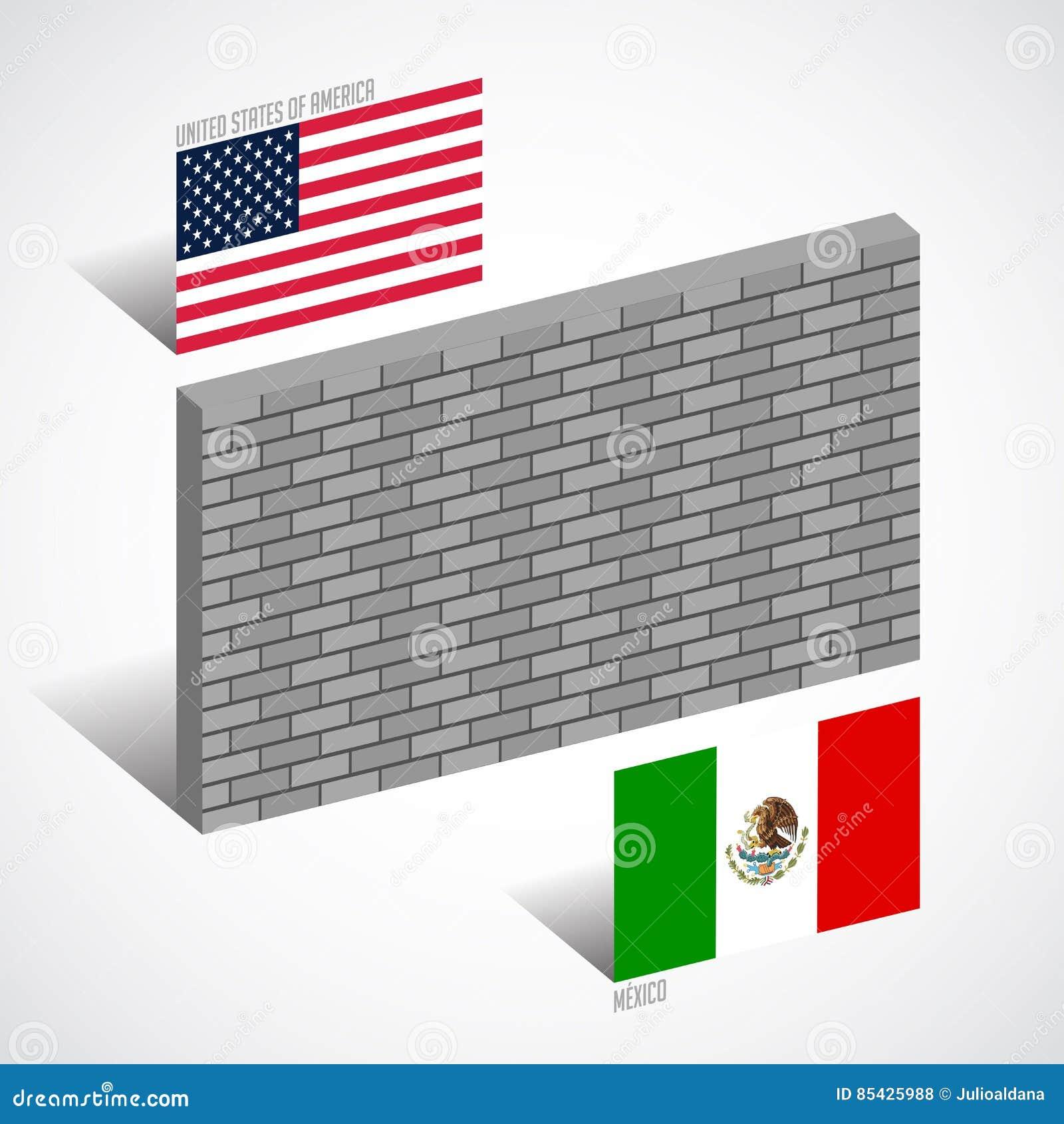 Parede entre o Estados Unidos e o México, conceito da parede da beira