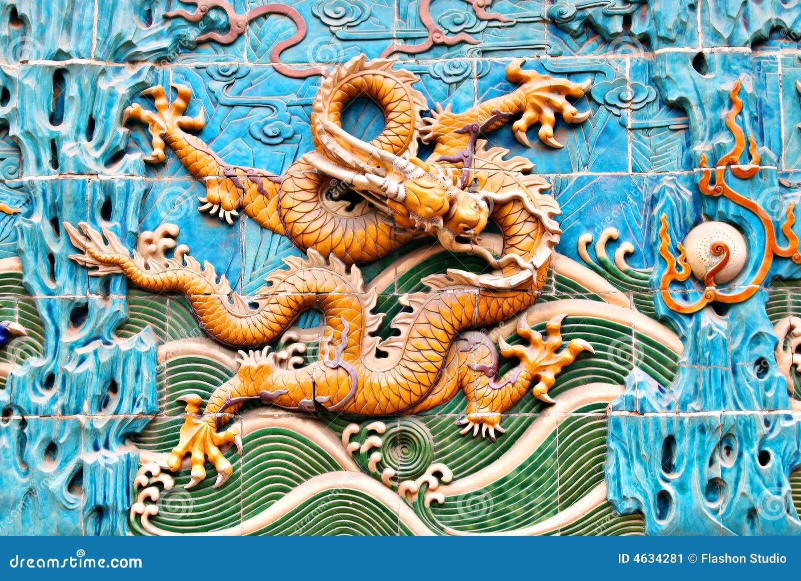 Parede famosa do dragão da dinastia de Qing em Beijing central