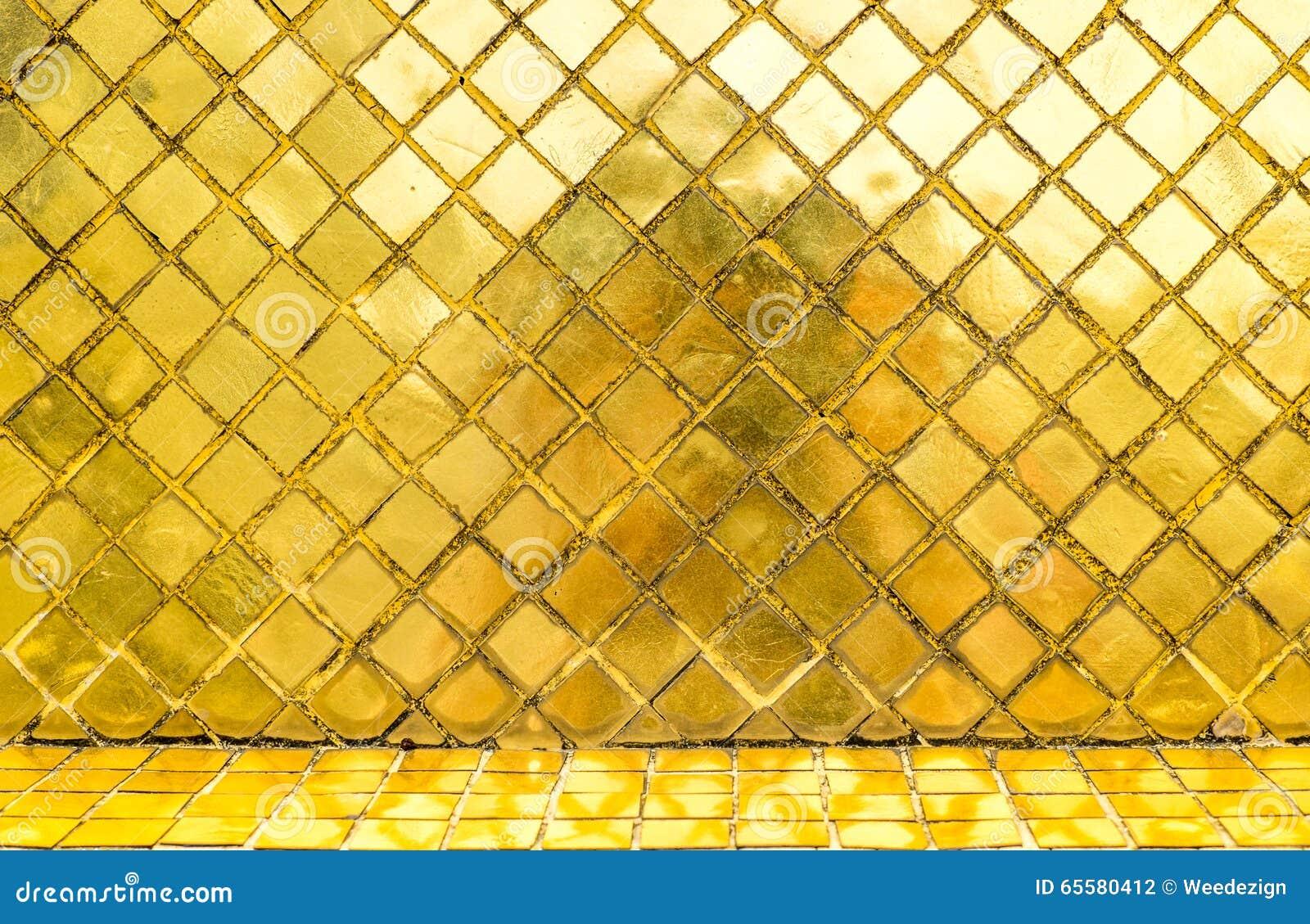 Parede lustrosa da telha de mosaico do ouro, fundo da textura
