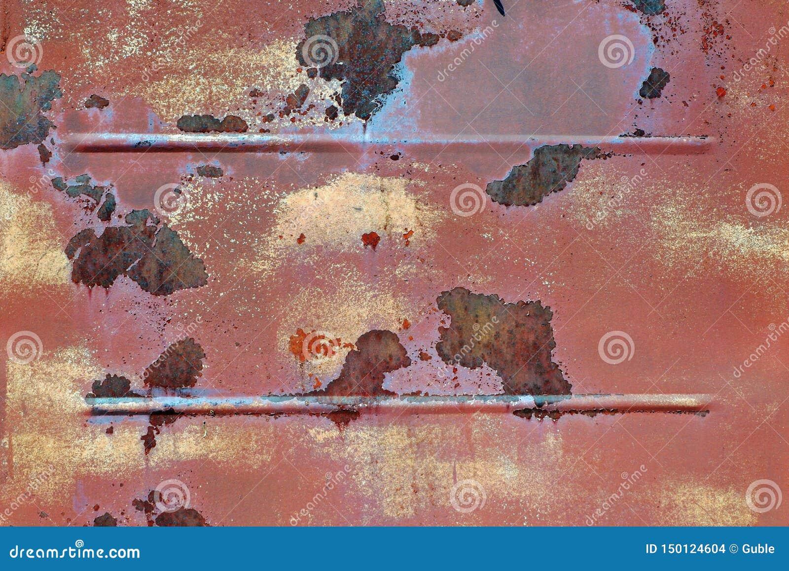 Parede oxidada velha do metal Fundo do metal Corros?o do metal