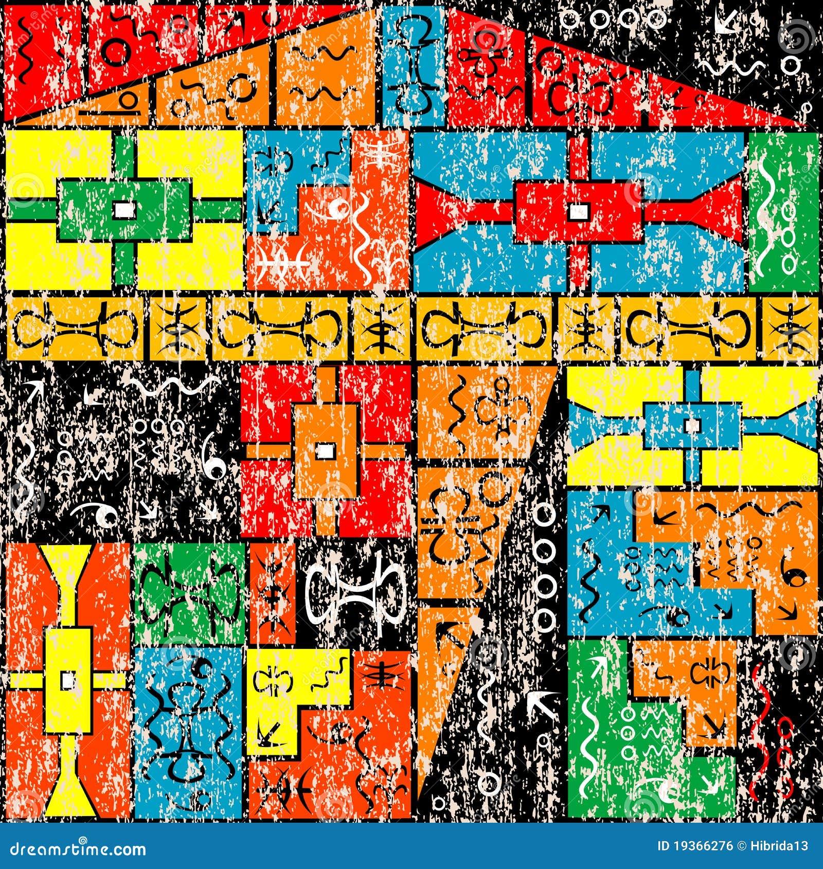 Parede pintada velha com motivos africanos