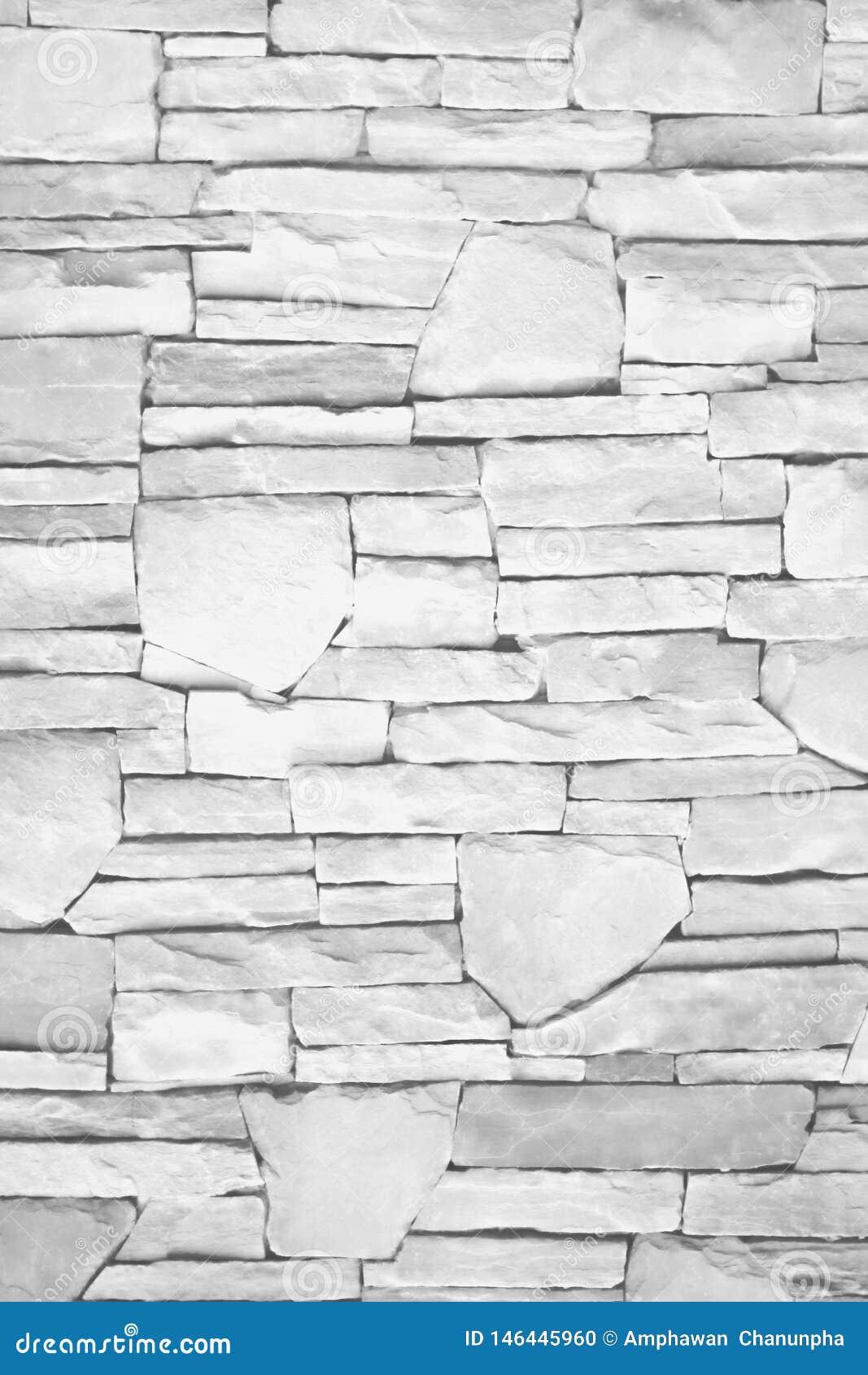 Parede sem emenda da camada natural da textura da pedra cinzenta ou branca para o fundo, testes padrões horizontais