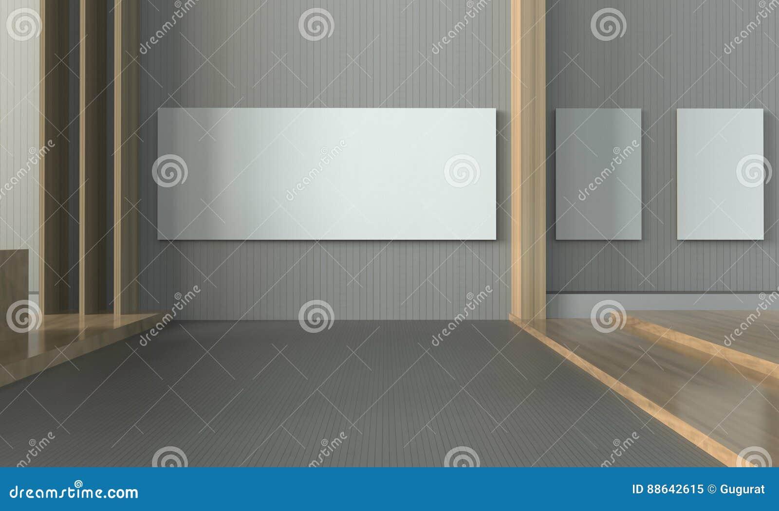 Parede Simples Da Sala Contempor Nea Da Exposi O E Da Moldura Para  -> Parede Galeria Sala