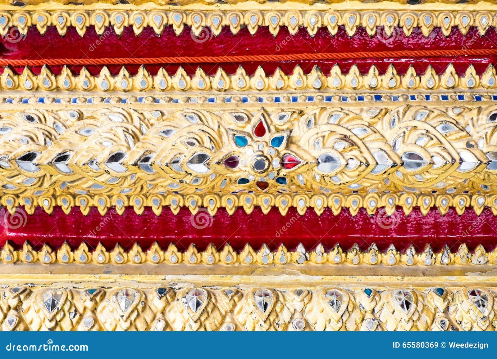 Parede tailandesa da arte do teste padrão, fundo da textura