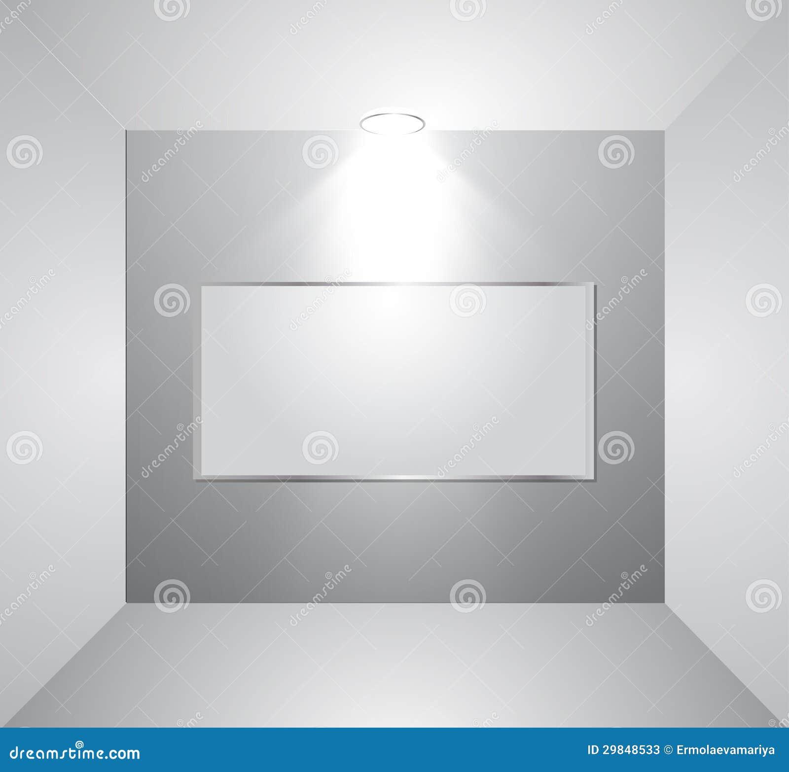 Parede vazia da galeria com luz. Vetor