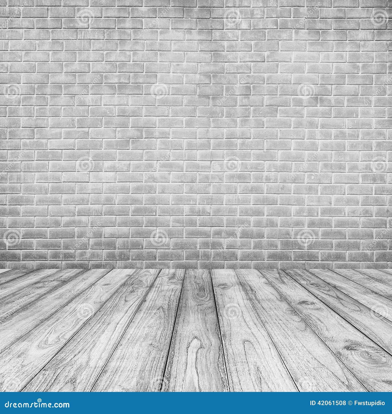 Paredes de ladrillo concretas blancas y piso de madera for Fotografias para paredes