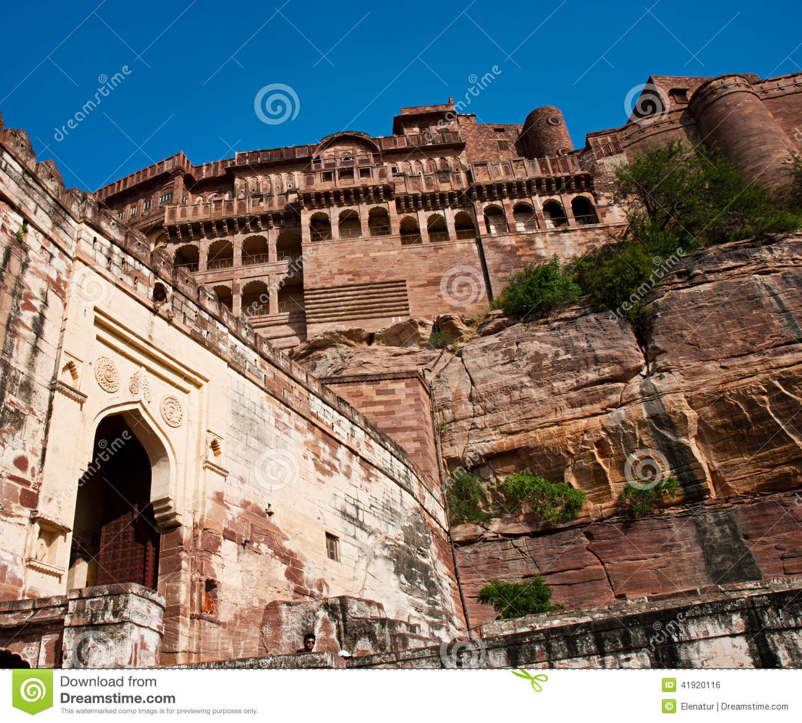 Paredes del fuerte de Mehrangarh, Jodhpur, Rajasthán, la India