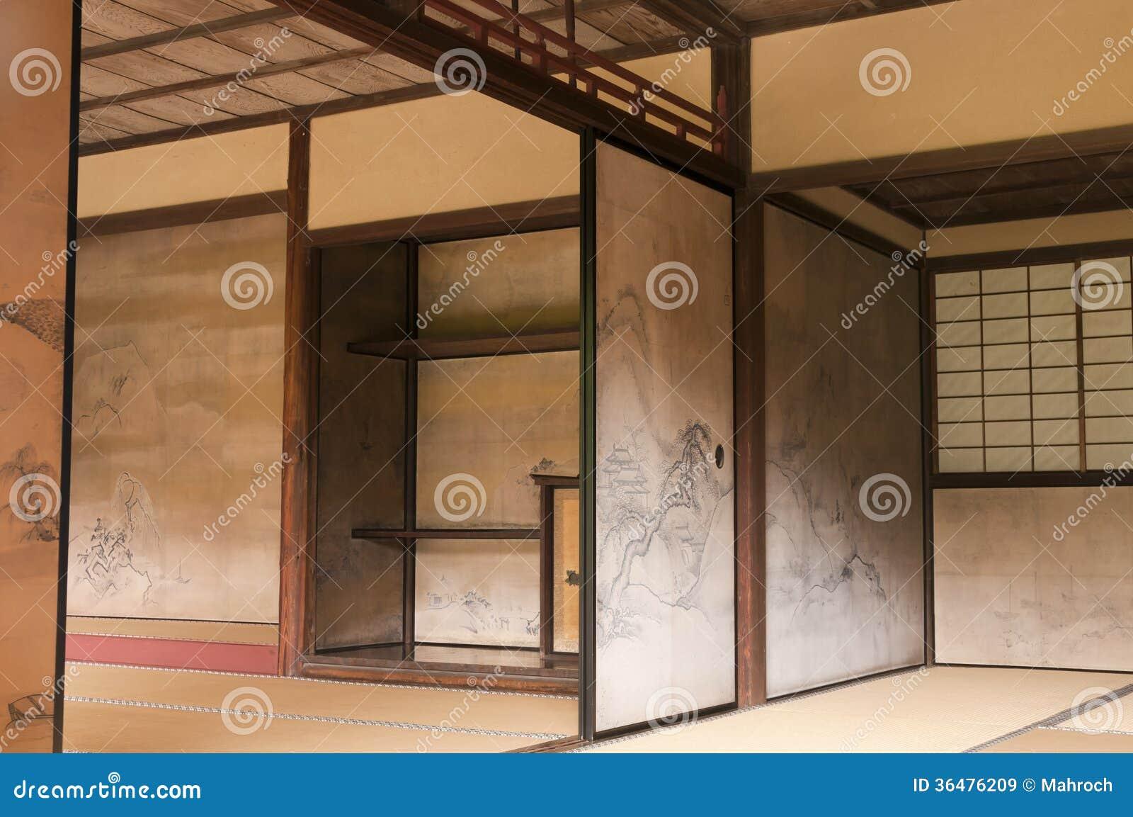 paredes interiores japonesas de la casa adornadas por