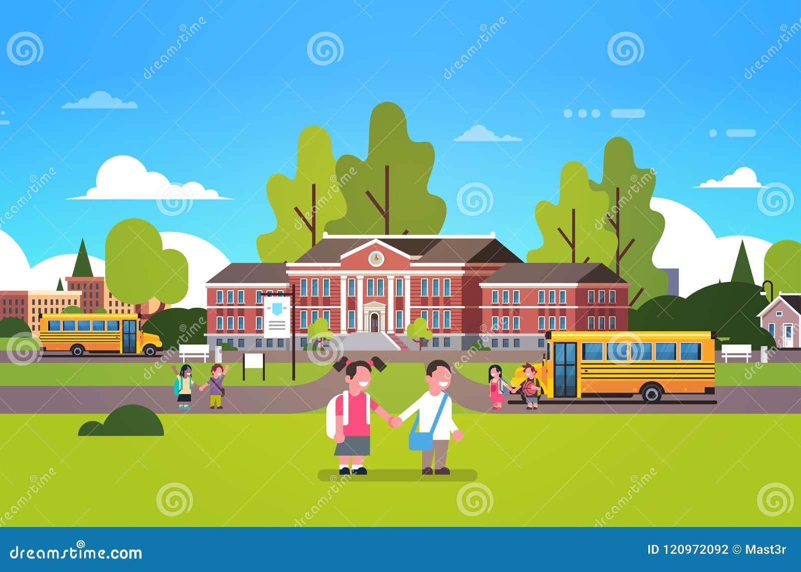 Parelever rymmer bakgrund för landskapet för studenter för barn för bussen för guling för gården för handskolabyggnad liten primä