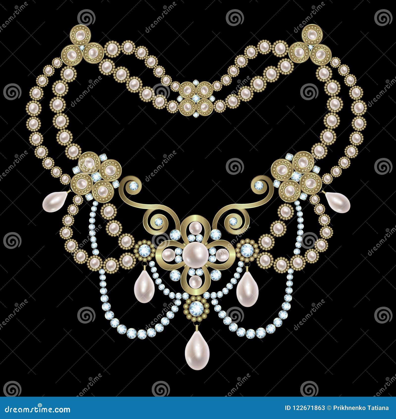 Parelhalsband met diamanten