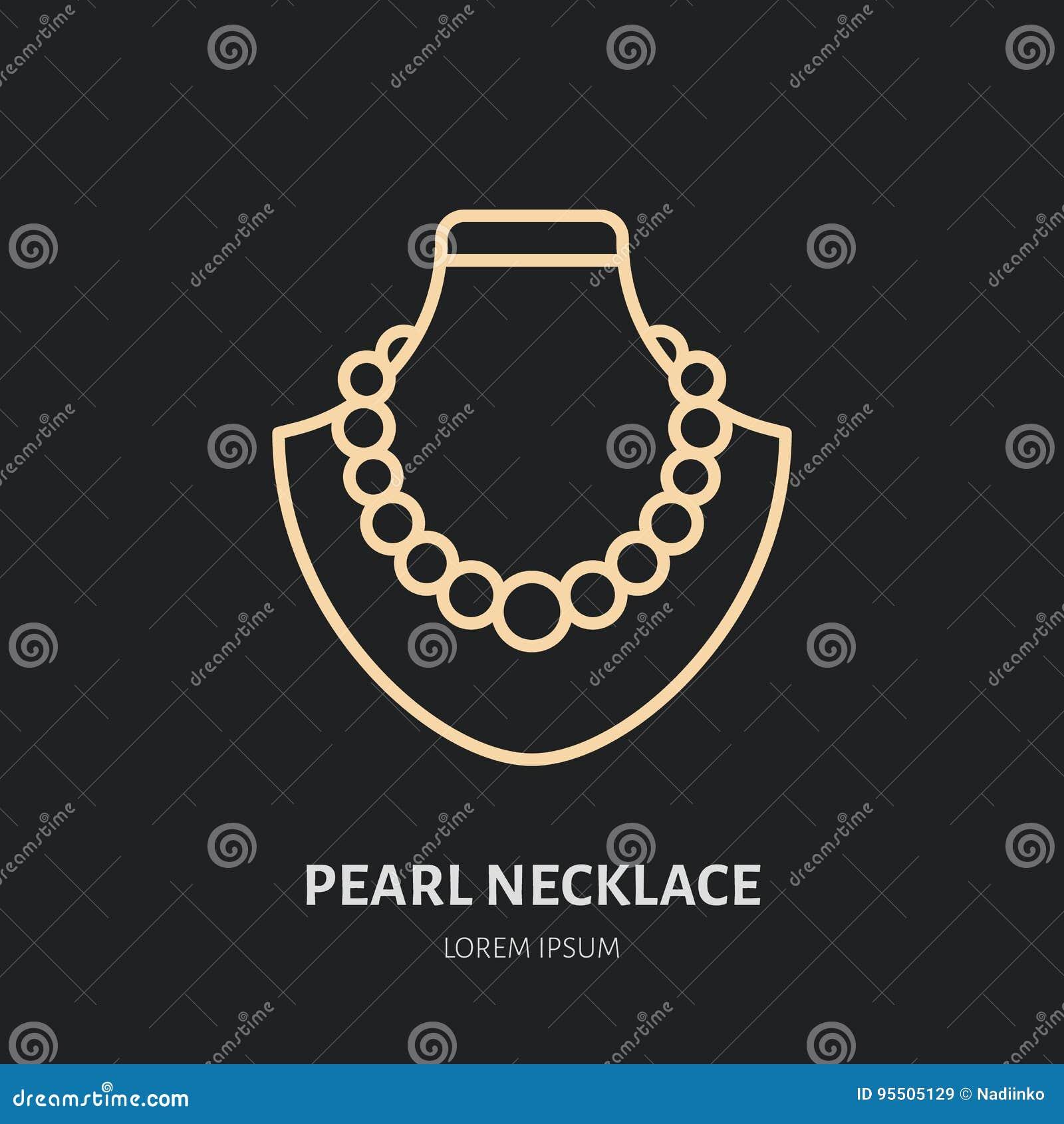 Parelhalsbanden op proefillustratie Pictogram van de juwelen het vlakke lijn, het embleem van de juwelenopslag Het teken van juwe