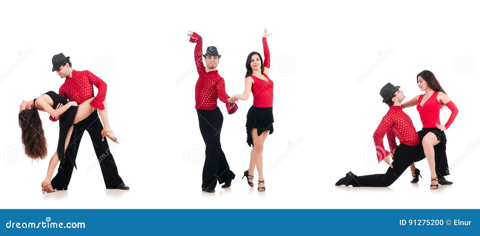 Paren av dansare som isoleras på viten