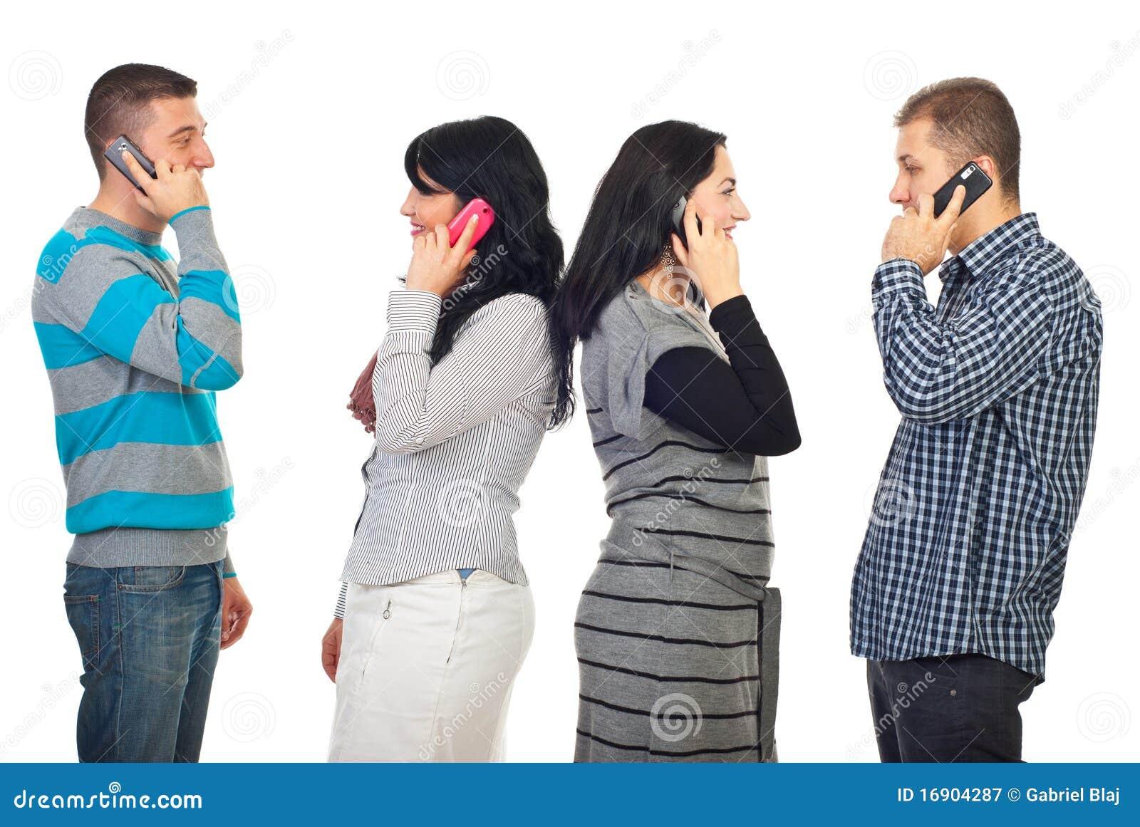 Paren die telefonisch spreken mobiles