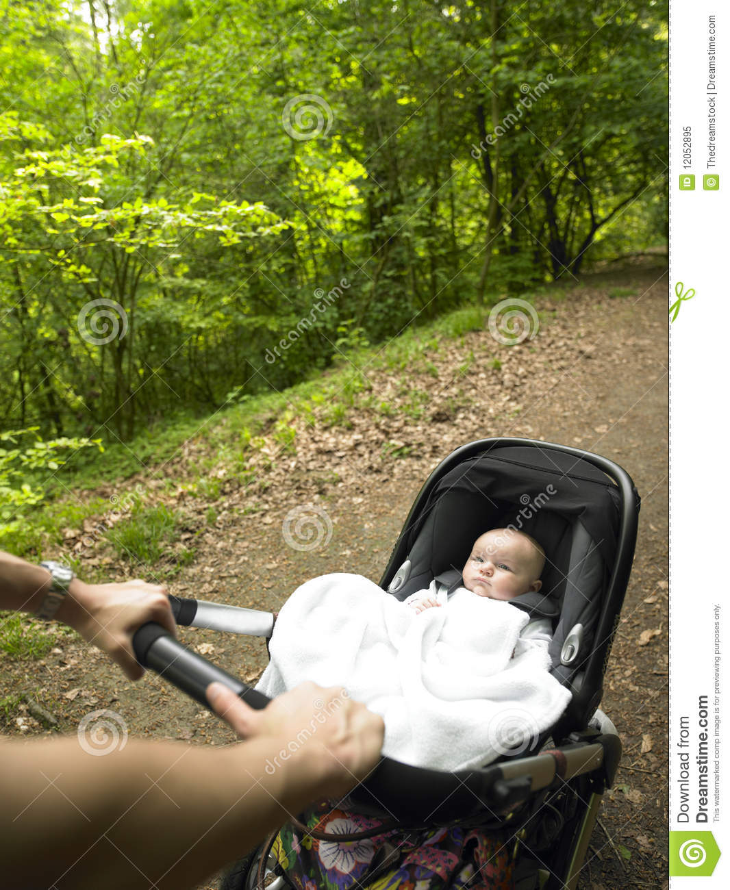 Parent And Baby Taking A Walk In The Woods Royalty Free