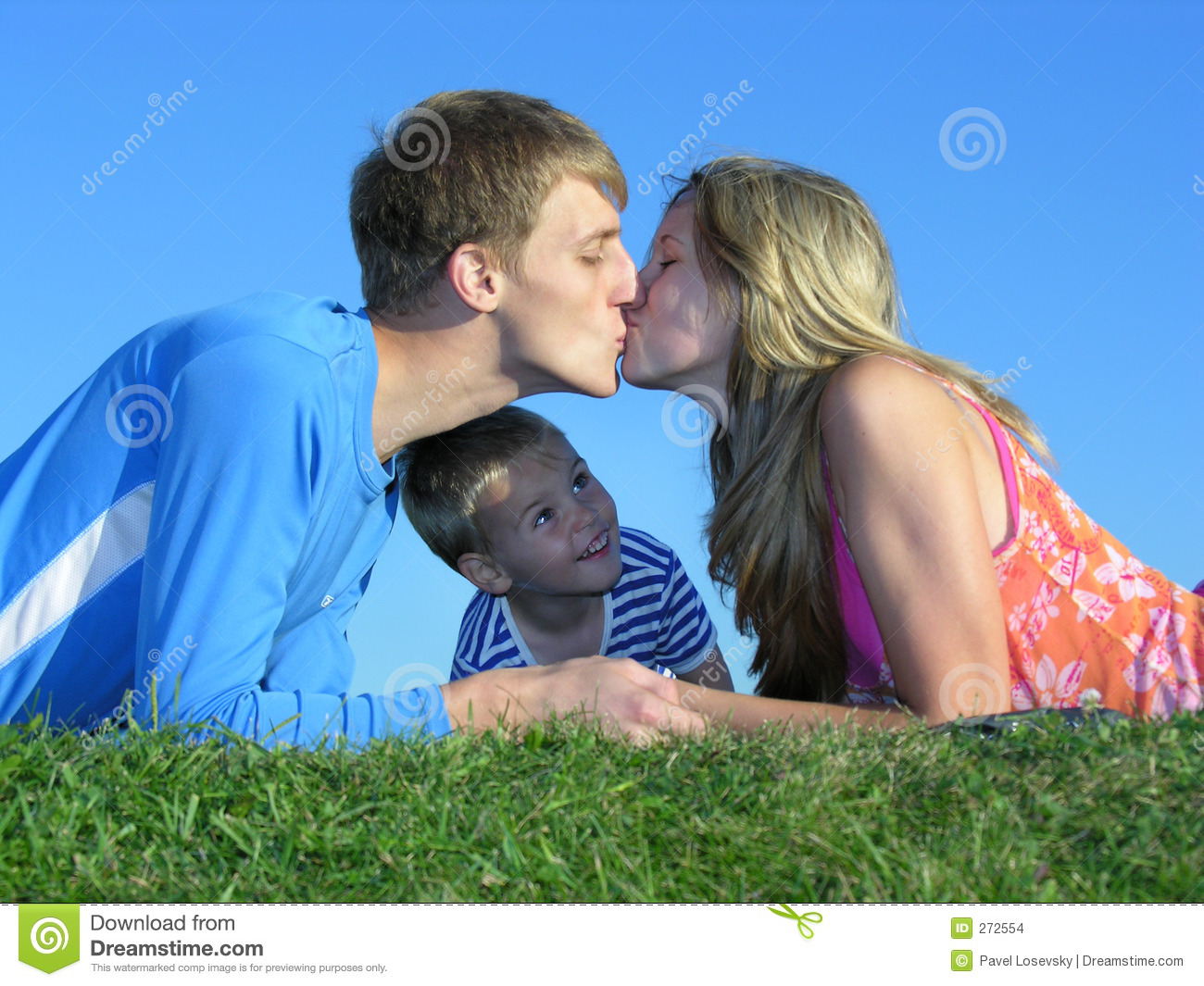 Parent s kiss and son
