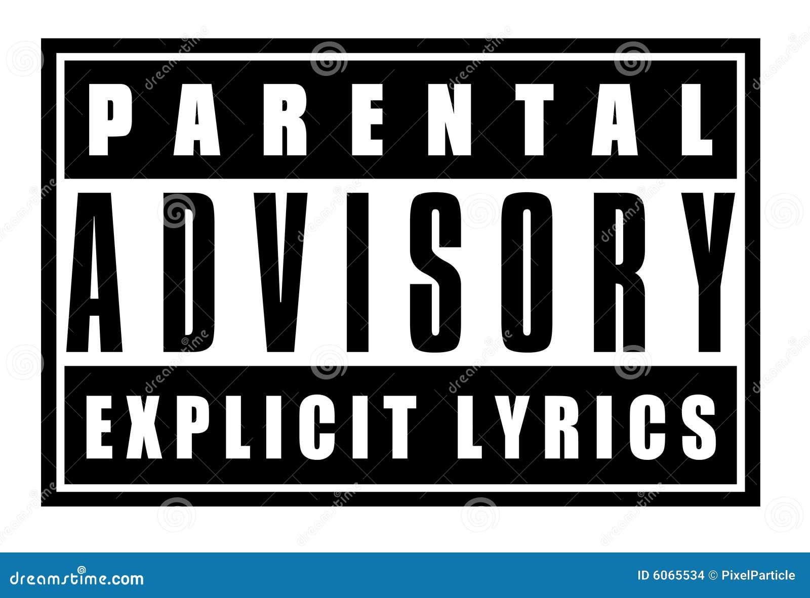 parental advisory explicit lyrcs sign stock illustration